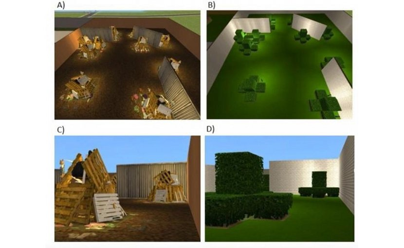 Anne Cleary's team created virtual reality scenarios using the Sims virtual world video game. They made scenes -- like a junkyard, or a hedge garden -- that later spatially mapped to previously witnessed, but thematically unrelated scenes. Credit Anne Cleary/Colorado State University