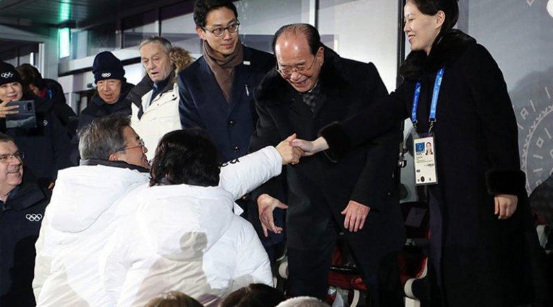 South Korean President Moon Jae-in shakes hands with Kim Yo Jong, the sister of North Korean leader Kim Jong Un, at 2018 Olympics. Source: 대한민국 청와대