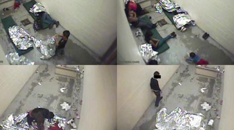 Footage of women and children in immigration holding cells in Douglas, Arizona, September 2015, made public in 2016 after a group of migrants challenged detention conditions in the cells. US Customs and Border Protection via American Immigration Council