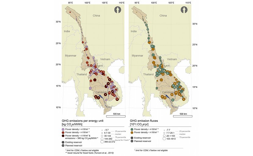 Estimated greenhouse gas emissions and power densities of 141 existing and planned reservoirs in the Mekong River Basin. CDM stands for Clean Development Mechanism of United Nation's Kyoto Protocol for implementing emission-reduction projects. Projects with power densities above 4W/m2 are eligible for CDM.