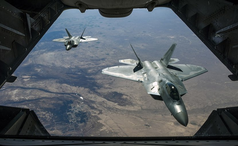 Two Air Force F-22 Raptors fly over Syria, Feb. 2, 2018, while supporting Operation Inherent Resolve. Air National Guard photo by Staff Sgt. Colton Elliott