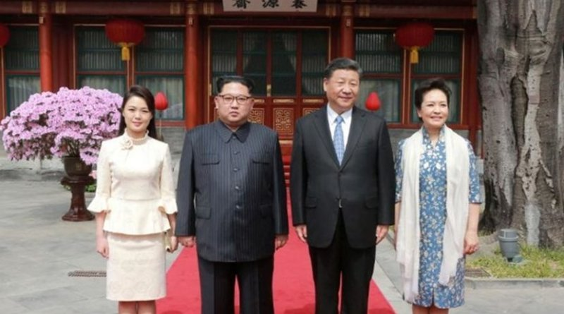 North Korea's Kim Jong-un' with China's Xi Jinping. Source: North Korea's Korean Central News Agency