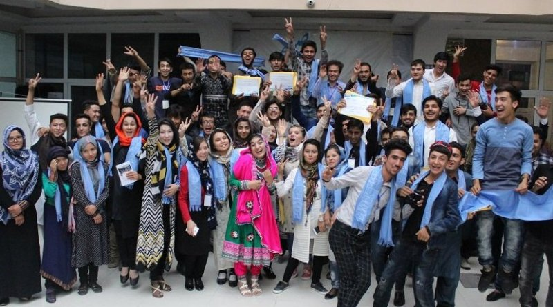 Afghan Peace Volunteers and friends in Kabul celebrate the International Day of Peace in Sept 2017