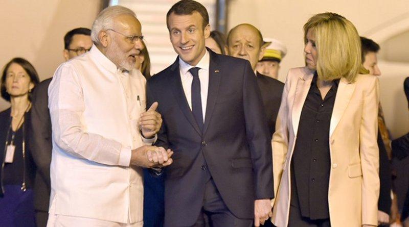 India's Prime Minister, Shri Narendra Modi welcomes the President of the French Republic, Mr. Emmanuel Macron. Photo Credit: India PM office.
