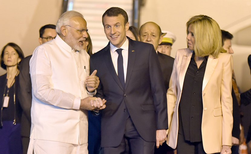 India's Prime Minister, Shri Narendra Modi welcomes the President of the French Republic, Mr. Emmanuel Macron. Photo Credit: India PM office.