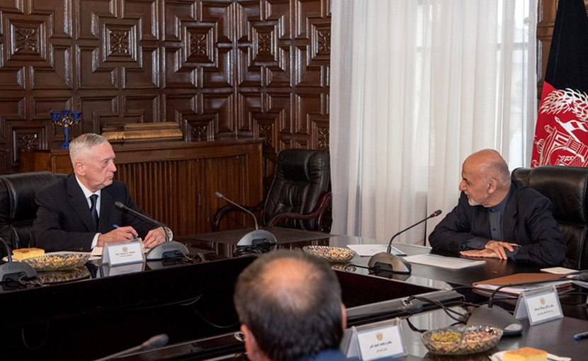 Defense Secretary James N. Mattis meets with Afghan President Ashraf Ghani, right, during a visit to Kabul, Afghanistan, Mar. 13, 2018. DoD photo by Army Sgt. Amber I. Smith