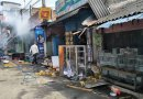 Photo: Some of the shops that were set on fire at Katugastota near Sri Lanka's Kandy city on March 7, 2018. Credit: Meera Srinivasan | The Hindu