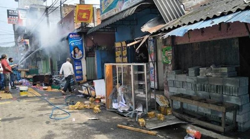 Photo: Some of the shops that were set on fire at Katugastota near Sri Lanka's Kandy city on March 7, 2018. Credit: Meera Srinivasan | The Hindu
