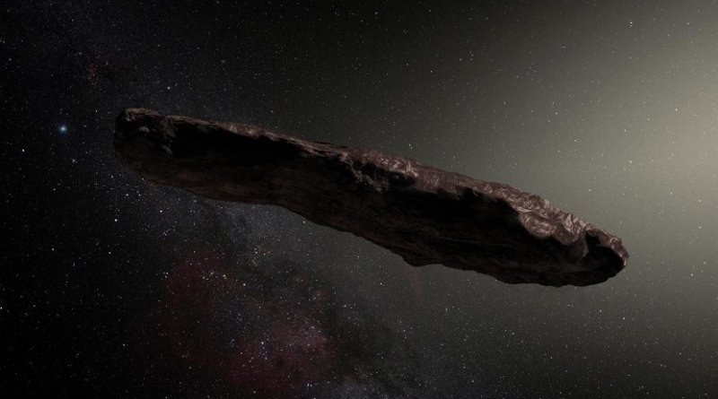 This is an artist's impression of 'Oumuamua. Credit: ESO / M. Kornmesser. Credit Credit: ESO / M. Kornmesser