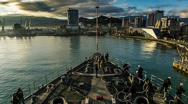 The USS Oak Hill in Batumi, March 17, 2018. Photo: U.S. Naval Forces Europe-Africa/ U.S. 6th Fleet