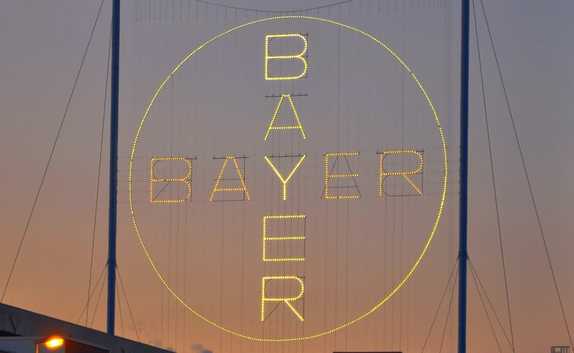 Bayer cross in Leverkusen. Photo by H005, Wikipedia Commons.