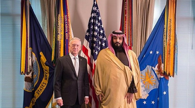 Photo showing Crown Prince Mohammed Bin Salman and Defense Secretary James Mattis at the Pentagon. (SPA)