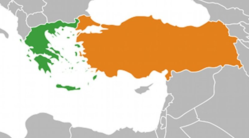 Locations of Greece (green) and Turkey. Source: WIkipedia Commons.