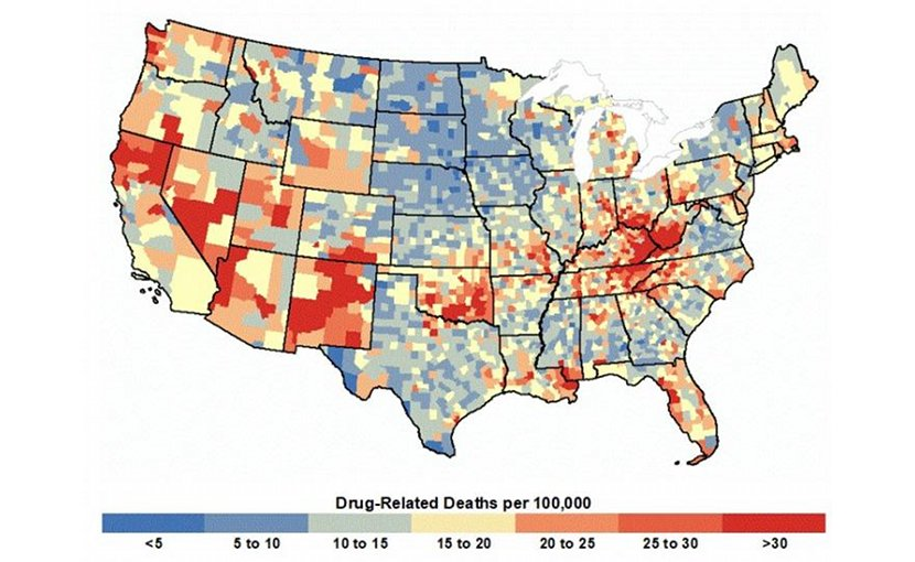 This is a map showing county-level age-adjusted drug related deaths per 100,000, 2006-2015. Credit Shannon M. Monnat