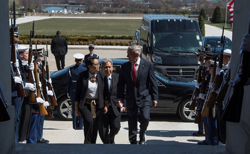 Defense Secretary James N. Mattis, right, and Indonesian Foreign Minister Retno Marsudi enter the Pentagon for a bilateral meeting, March 26, 2018. DoD photo by Navy Petty Officer 1st Class Kathryn E. Holm
