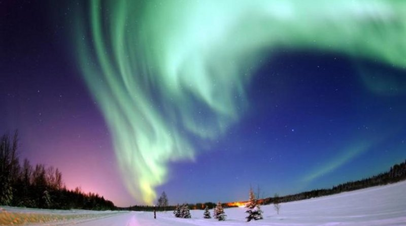 It is during geomagnetic storms that beautiful aurora borealis, or northern lights, are visible at high latitudes. However, geomagnetic storms can also cause risks to the power grid. Credit Joshua Strang, US Air Force