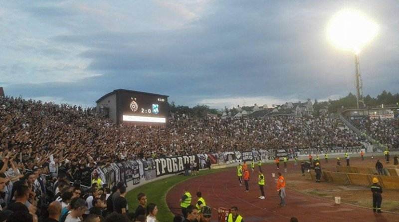 Grobari celebrating Partizan's 27th league title won in 2017. Photo by Marko Stanojević, Wikipedia Commons.