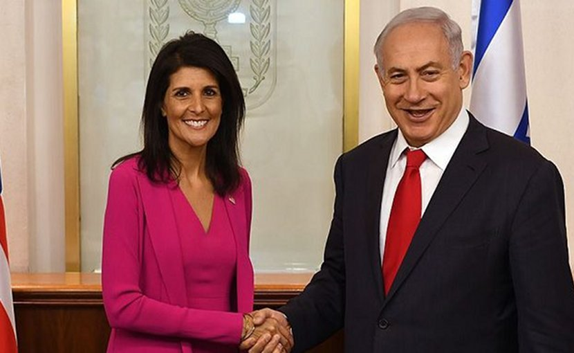 Nikki Haley with Israeli Prime Minister Benjamin Netanyahu at his office in Jerusalem. (Photo: Courtesy US Embassy Tel Aviv, Wikimedia Commons)