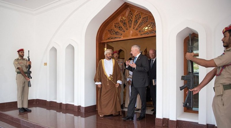 US Defense Secretary James N. Mattis meets with Omani Defense Minister Sayyid Badr al Busaidi in Muscat, Oman, March 12, 2018. DoD photo by Army Sgt. Amber I. Smith