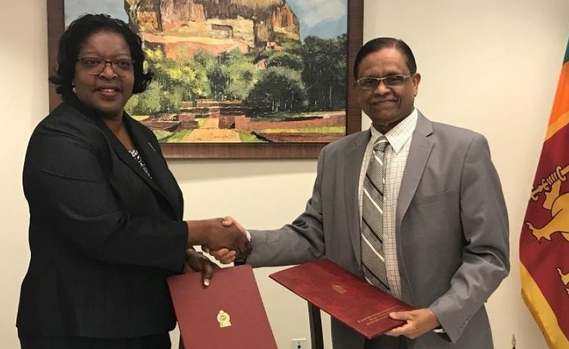 Dr. Amrith Rohan Perera, Ambassador and Permanent Representative of Sri Lanka to the United Nations and Mrs. Loreen Ruth Bannis-Roberts, Ambassador and Permanent Representative of Dominica to the United Nations. Photo Credit: Sri Lanka government.