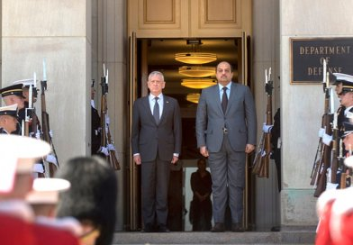 Defense Secretary James N. Mattis stands with Qatari Defense Minister Dr. Khalid bin Mohammed Al-Attiyah while hosting an honor cordon welcoming him to the Pentagon, April 18, 2018. DoD photo by Air Force Tech. Sgt. Vernon Young Jr.