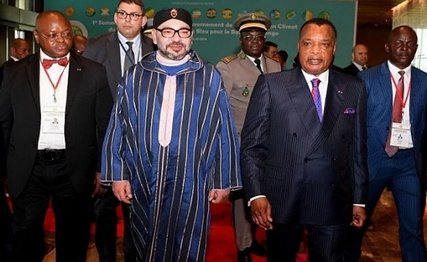Morocco's King Mohammed VI and President of Congo Denis Sassou N'Guesso
