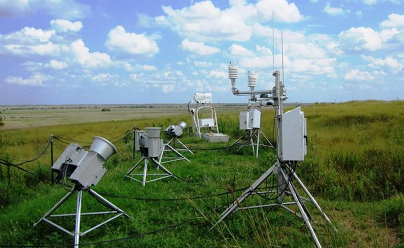 The scientists used radiometers, shown here, to isolate the signal of methane's greenhouse effect. Radiometers are among the many instruments at ARM's Southern Great Plains observatory that the team utilized as part of this study. Credit ARM Climate Research Facility
