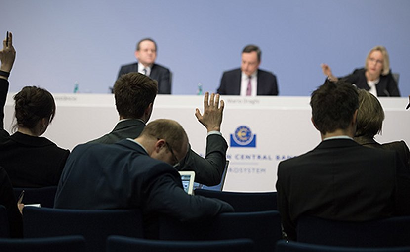 Press conference at the European Central Bank. Photo Credit: ECB