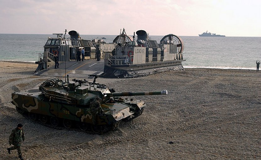 An ROK Army K1 tank disembarks from a U.S. Navy Landing Craft Air Cushion during RSOI/Foal Eagle 2004. U.S. Air Force photo by Staff Sgt. D. Myles Cullen.