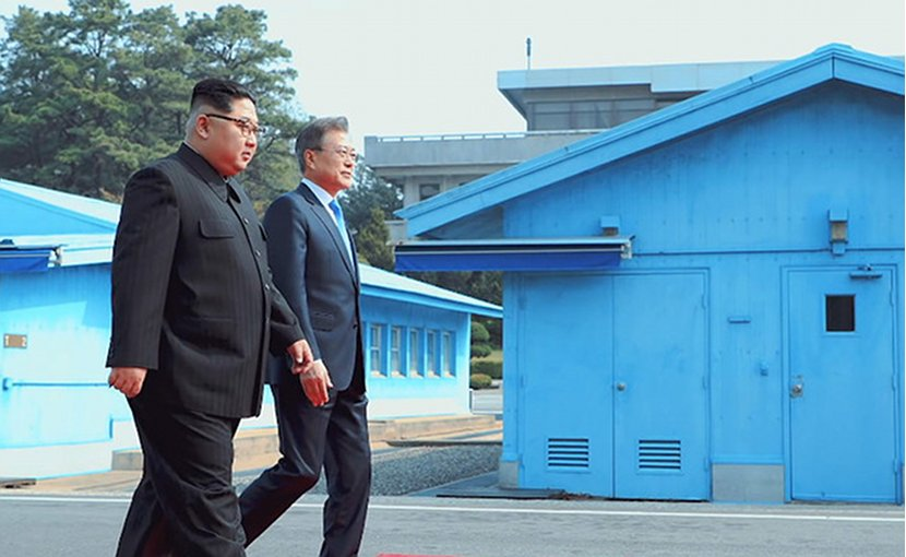 Kim Jong-un of North Korea and Moon Jae-in of South Korea. Photo Credit: South Korea President's Office.