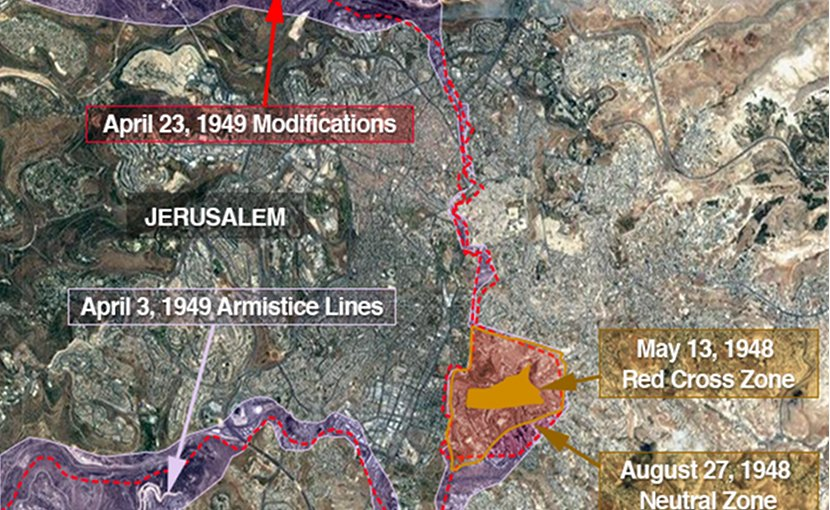 Map of Jerusalem showing the changing lines that created the territorial anomaly where the new U.S. embassy to Israel will be partly located. Source: VOA