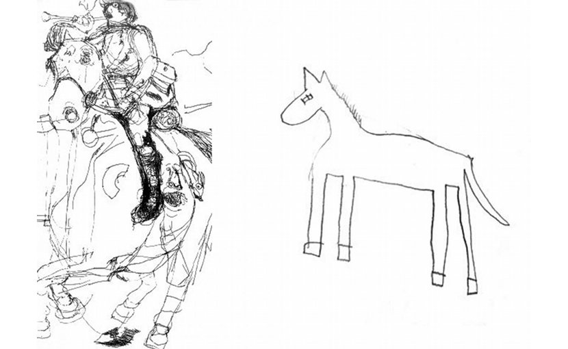 This is a drawing of a horse by Nadia, a gifted autistic child artist (left) and by a typically developing child of the same age (right). Credit Penny Spikins, University of York