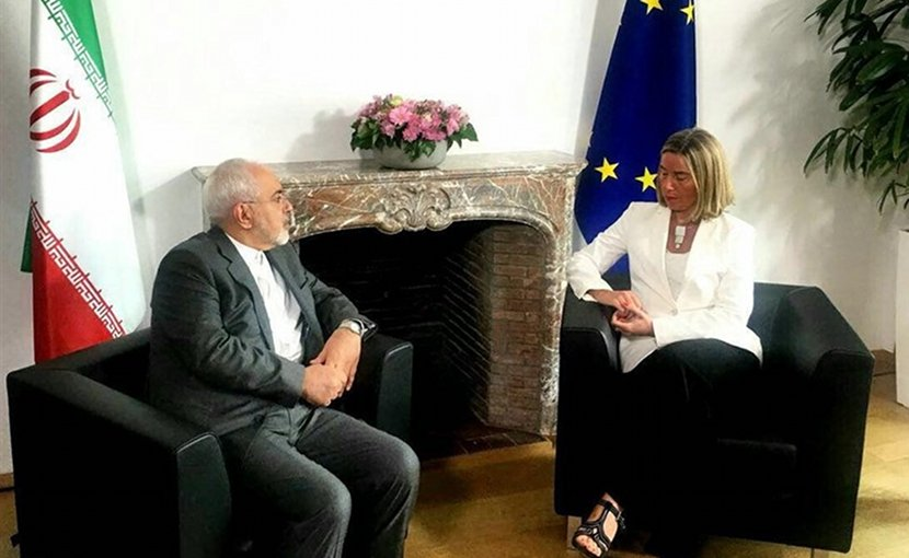 Iranian Foreign Minister Mohammad Javad Zarif with EU Foreign Policy Chief Federica Mogherini. Photo Credit: Tasnim News Agency