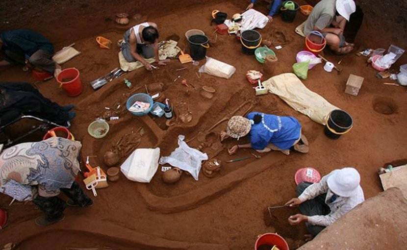 Field workers excavate ancient human remains at Man Bac, Vietnam, in 2007. DNA from skeletons at this site was included in the current study. Credit Lorna Tilley, Australian National University