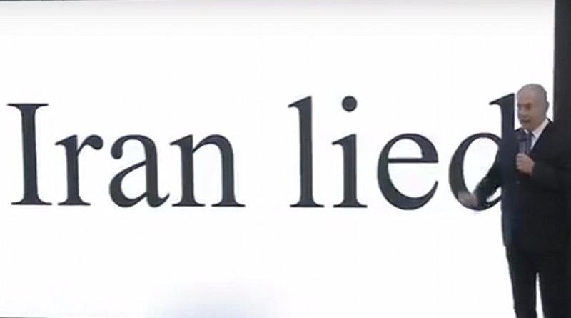 Israel's PM Benjamin Netanyahu delivering presentation claiming Iran lied about its nuclear program. Credit: YouTube screenshot