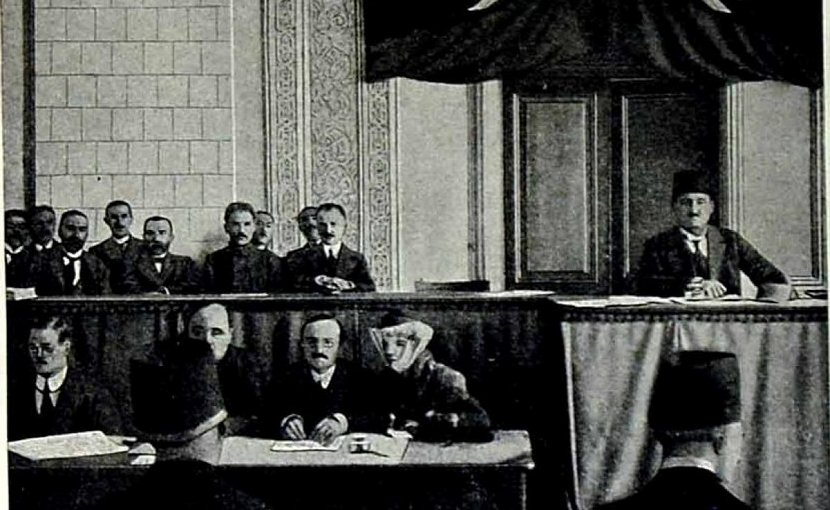 The first meeting of the Azerbaijan Democratic Republic's parliament, 1918.