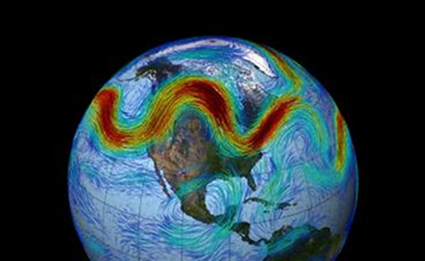 This is an illustration of the Northern Hemisphere's polar jet stream. Credit NASA's Goddard Space Flight Center