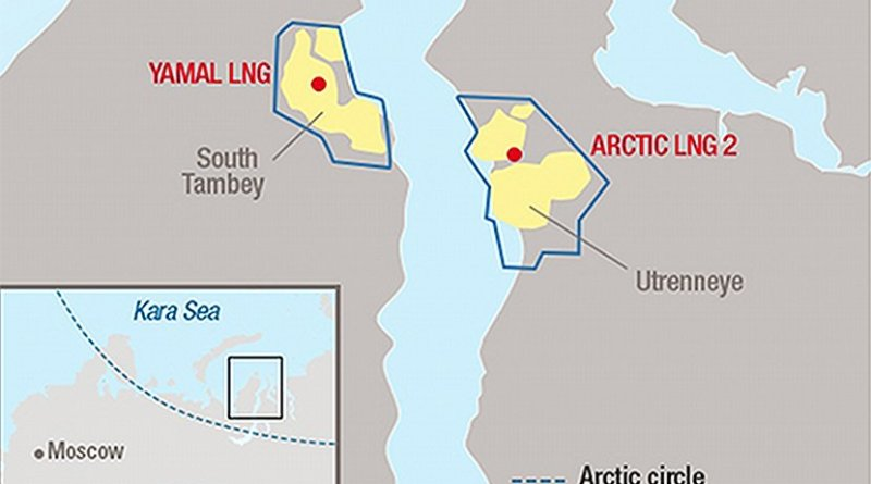 Locations of Yamal LNG and Arctic LNG 2 in Russia. Credit: Total