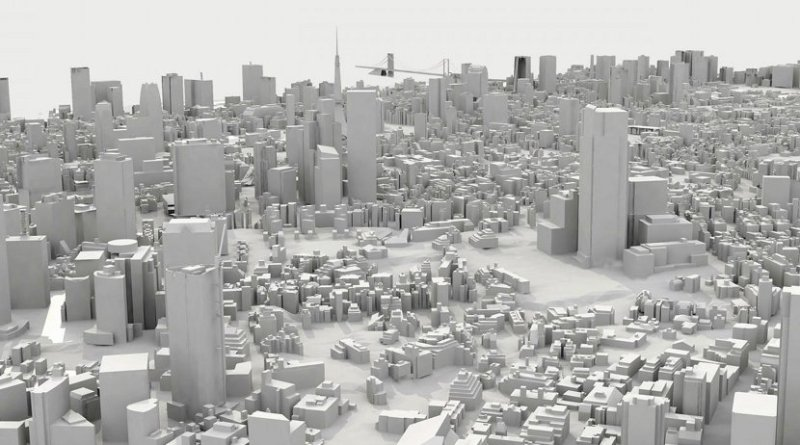 This is a 3D representation of the Minato Ward (Tokyo) used for the study. Credit Ivan Pazos et al.