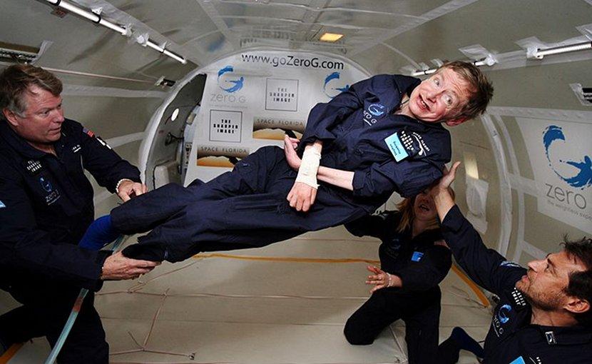 Physicist Stephen Hawking in Zero Gravity NASA. Photo by Jim Campbell/Aero-News Network, Wikimedia Commons.