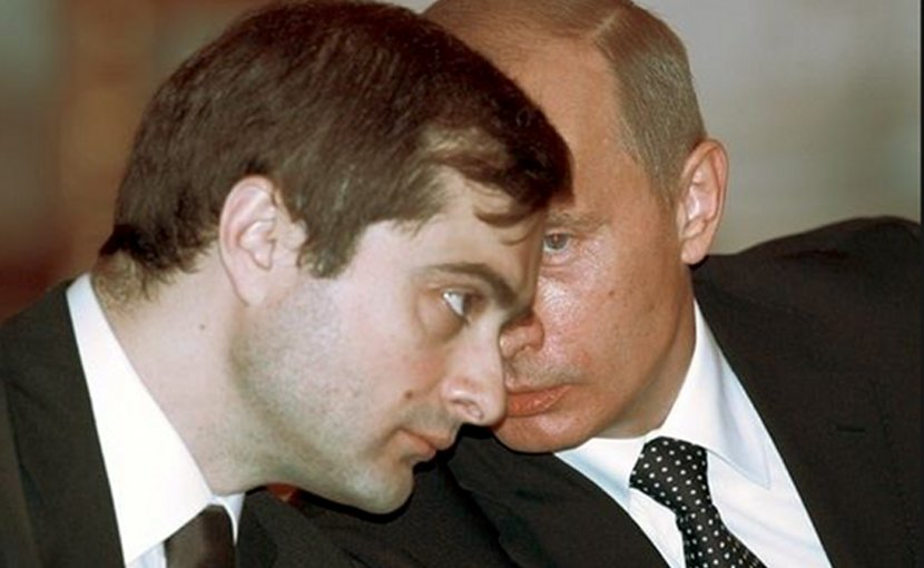 Vladislav Surkov with President Vladimir Putin (Source: WikiImages)