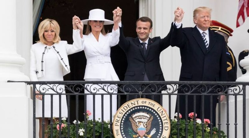 The arrival ceremony of the President of France and Mrs. Macron with US President Trump. (Official White House Photo by Andrea Hanks)