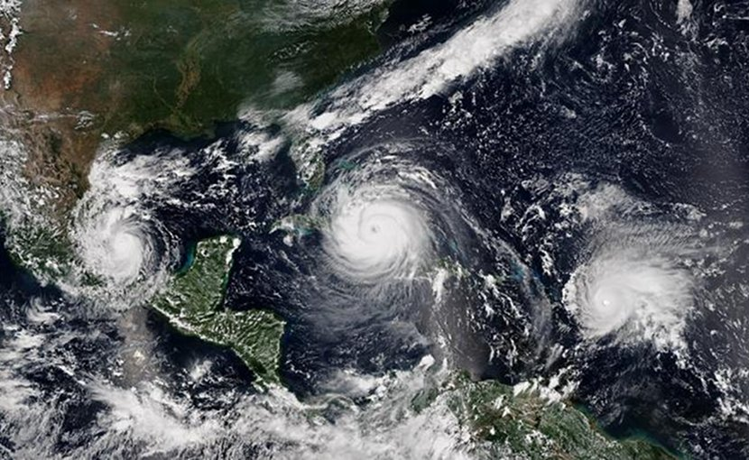 A study led by PNNL shows that hurricanes intensify more quickly now than they did 30 years ago. Hurricanes like Irma (center), and Jose (right) are examples of these types of hurricanes. Hurricane Katia is visible on the left. Credit NOAA