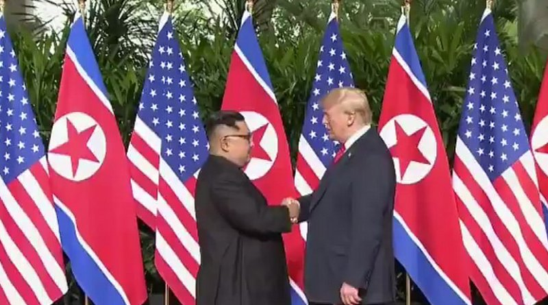 North Korean leader Kim Jong-un and US President Donald Trump. Photo Credit: US State Department video screenshot.