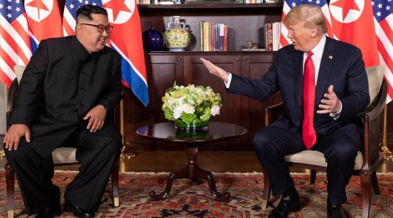 President Donald J. Trump and North Korean leader Kim Jong Un, participate in their bilateral meeting, Tuesday, June 12, 2018, at the Capella Hotel in Singapore. (Official White House Photo by Shealah Craighead)