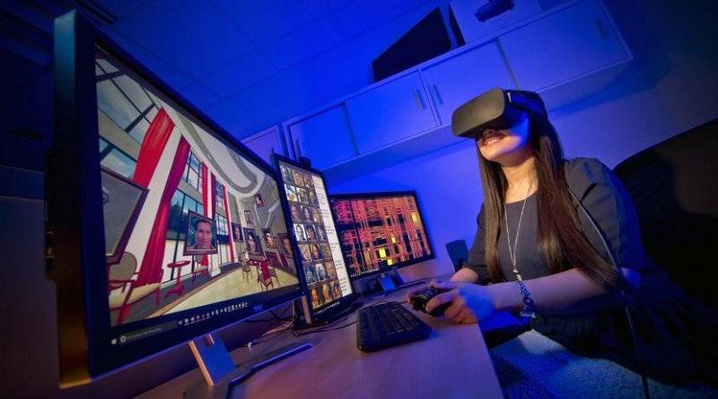 University of Maryland researchers conducted one of the first in-depth analyses on whether people recall information better through virtual reality, as opposed to desktop computers. Credit John T. Consoli / University of Maryland