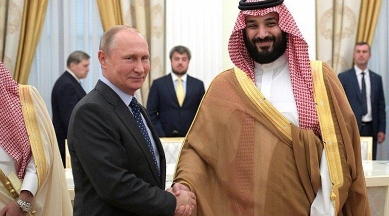 Russia's President Vladimir Putin with Crown Prince and Defence Minister of Saudi Arabia Mohammad bin Salman Al Saud. Photo Credit: Kremlin.ru