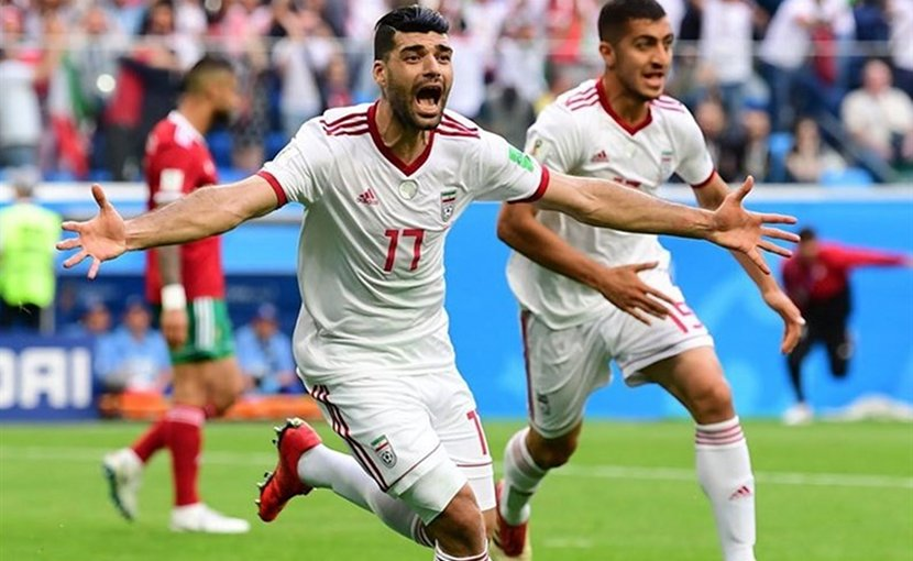 Iran's Mehdi Taremi celebrated victory over Morocco. Photo Credit: Tasnim News Agency.