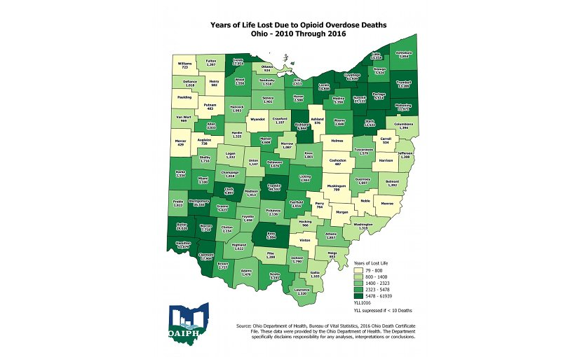 This map breaks down the number of years of life lost to opioid deaths by county in Ohio from 2010 through 2016. Credit The Ohio Alliance for Innovation in Population Health