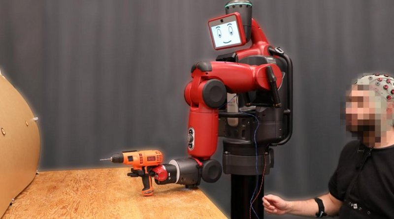 By monitoring brain activity, the system can detect in real time if a person notices an error as a robot does a task. Credit MIT CSAIL